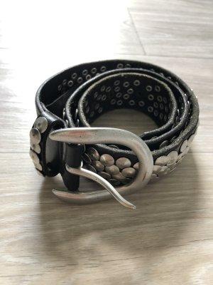 Liebeskind Berlin Leather Belt black-silver-colored