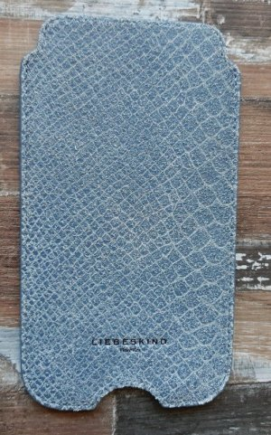 Liebeskind Mobile Phone Case pale blue-steel blue leather