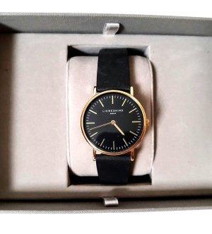 Liebeskind Berlin Horloge met lederen riempje zwart-zandig bruin Leer