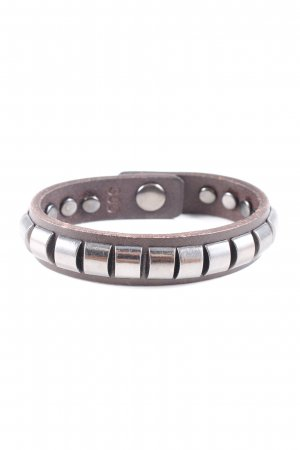 Liebeskind Leather Bracelet brown-silver-colored casual look