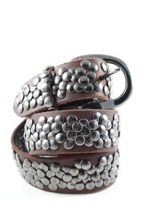 Liebeskind Cintura di pelle marrone-argento stile casual