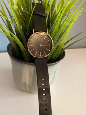 Liebeskind Horloge met lederen riempje zwart-roségoud
