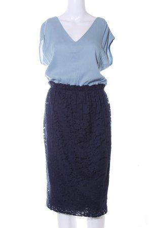Liebig Etuikleid hellblau-dunkelblau Business-Look