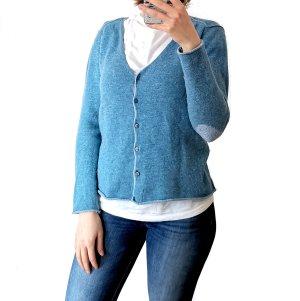 Lieblingsstück Wełniany sweter błękitny-chabrowy Wełna