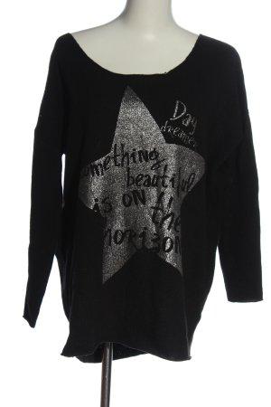 Lieblingsstück Fine Knit Jumper black themed print casual look