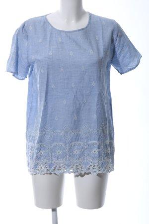 Lieblingsstück Kurzarm-Bluse blau-weiß Casual-Look