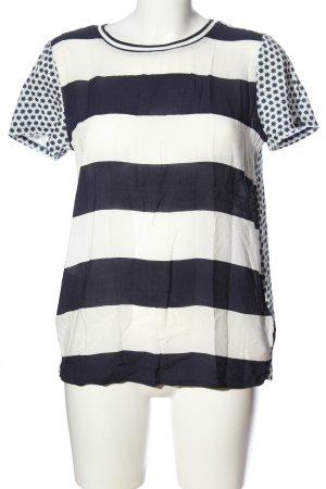 Lieblingsstück Kurzarm-Bluse schwarz-weiß Streifenmuster Casual-Look