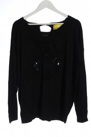 Lieblingsstück Knitted Sweater black themed print casual look