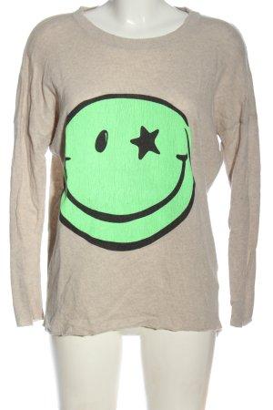 Lieblingsstück Strickpullover creme-grün Motivdruck Casual-Look