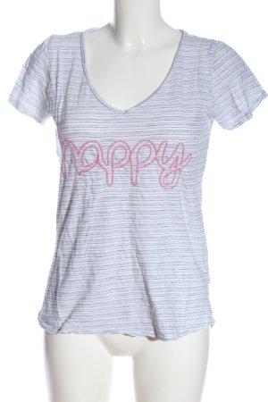 Lieblingsstück V-Ausschnitt-Shirt weiß-schwarz Schriftzug gestickt Casual-Look