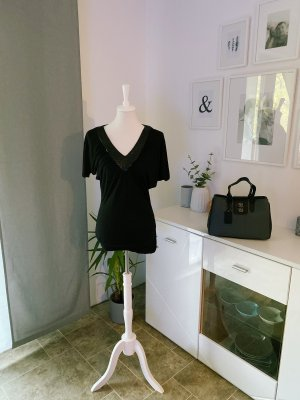 Amisu V-hals shirt zwart
