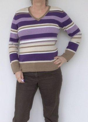 lila-beige gestreifter Damen Pullover, Gerry Weber, Größe 40