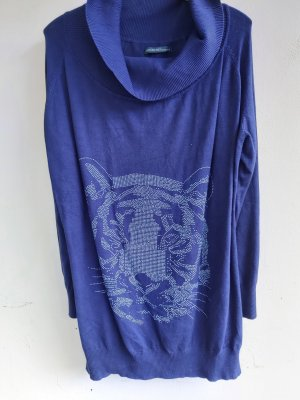 Sweter z golfem srebrny-ciemny fiolet