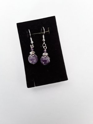 Pendientes de perlas color plata-lila