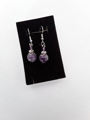 Kolczyk z perłą srebrny-fiolet