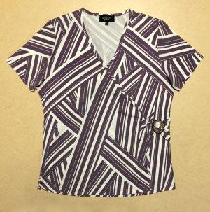 lila-weißes Shirt mit Streifen, kurzärmlig, V-Ausschnitt, Gr. M