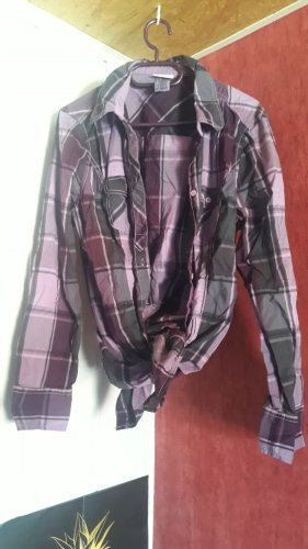 Checked Blouse grey-grey violet