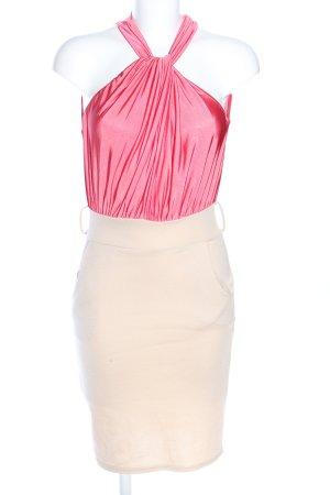 Neckholderkleid pink-creme Elegant