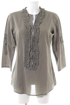 Lilienfels Rüschen-Bluse khaki Business-Look