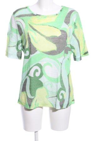 Lilienfels Strickshirt grün-blassgelb abstraktes Muster Casual-Look
