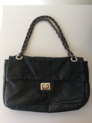Lilienfels Tasche Leder viele Innentaschen mit Reißverschluss schwarz Kette Silber bronze