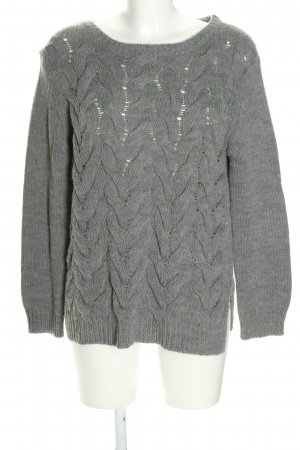 Lilienfels Zopfpullover hellgrau Zopfmuster Casual-Look