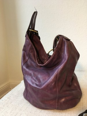 Lilla Ledertasche made in Italy