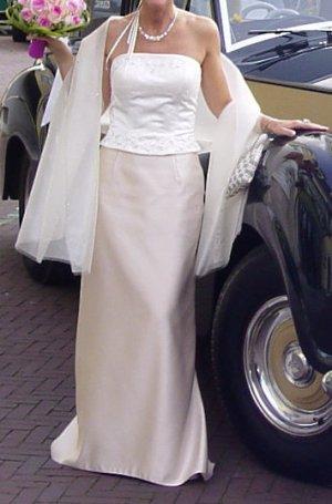Lilly Brautkleid Hochzeitskl. 2tlg champagner/ offwhite 36/38