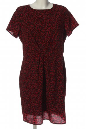 LIMITED EDITION Kurzarmkleid schwarz-rot abstraktes Muster Casual-Look