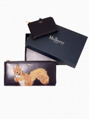 Limited Edition Navy Leder Mulberry Squirrel Brieftasche