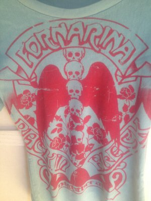 Fornarina T-shirt bleu clair-rouge framboise tissu mixte