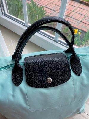 Limited Edition Türkise Longchamp Tasche mit schwarzen Henkel, Neu