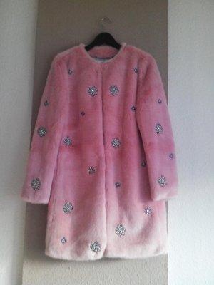 Limited Edition, wunderschöner Schmuck-Mantel aus künstlichem Fell in rosa, Grösse S, neu