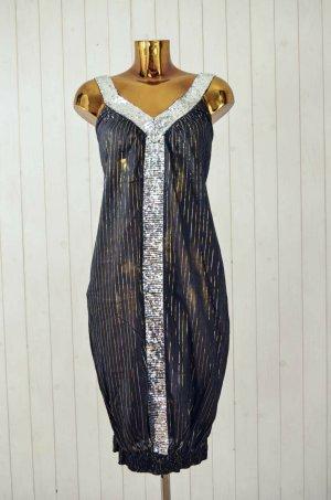 LIN FASHION Kleid Pailletten Schwarz Silber Gold Gestreift Baumwolle Gr.S