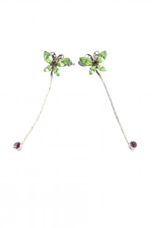 Lina Jewelry Broche verde-color plata elegante