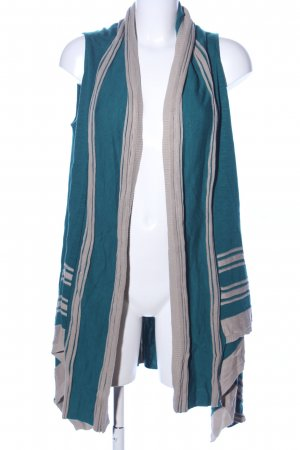 Knitted Wrap Cardigan green-light grey striped pattern casual look
