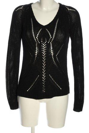 Lindex V-Ausschnitt-Pullover schwarz Casual-Look