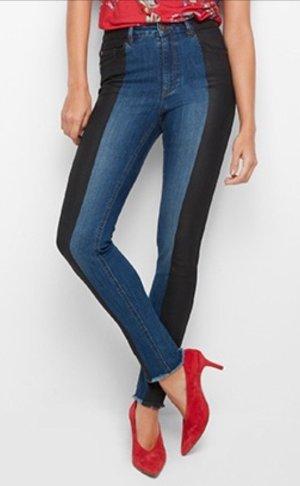 Lindex Hoge taille jeans zwart-blauw