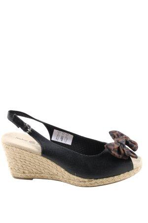 Sandalias con plataforma negro-marrón estampado de leopardo look casual