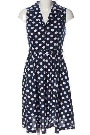 Lindy Bop A-Linien Kleid blau-weiß Punktemuster Casual-Look