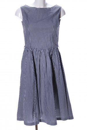 Lindy Bop A-Linien Kleid weiß-schwarz Allover-Druck Business-Look
