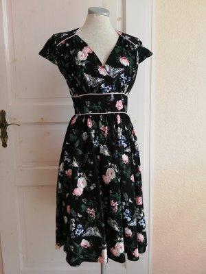 Lindy Bop Kleid Rockabilly Gr. UK 10 EUR 38 D 36 S schwarz Kurzarmkleid Midikleid