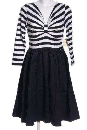 Lindy Bop Langarmkleid schwarz-weiß Streifenmuster Business-Look