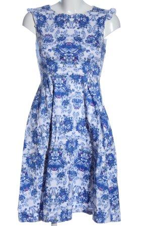 Lindy Bop A-Linien Kleid weiß-blau Allover-Druck Elegant