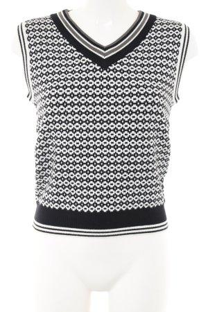 Cárdigan de punto fino negro-blanco estampado gráfico estilo «business»
