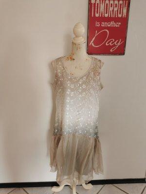 Linea Tesini by Heine Damen Sommerkleid Spitzenkleid Beige grau Größe 42