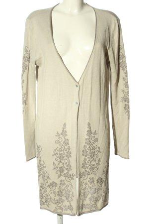 Linea Tesini Kardigan w kolorze białej wełny-brązowy Abstrakcyjny wzór