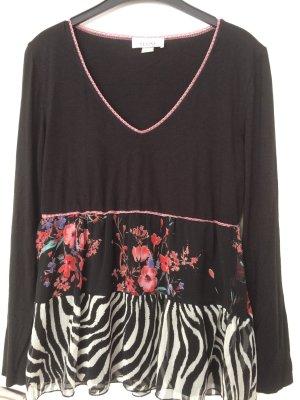 Linea Tesini T-shirt col en V blanc-noir tissu mixte