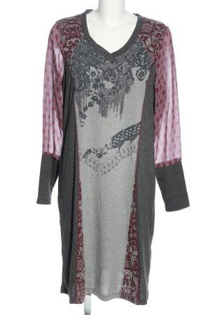 Linea Tesini Langarmkleid hellgrau-pink Allover-Druck Casual-Look