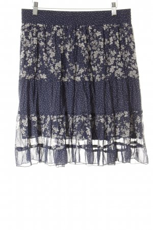 Linea Tesini Midirock dunkelblau-wollweiß Blumenmuster Casual-Look